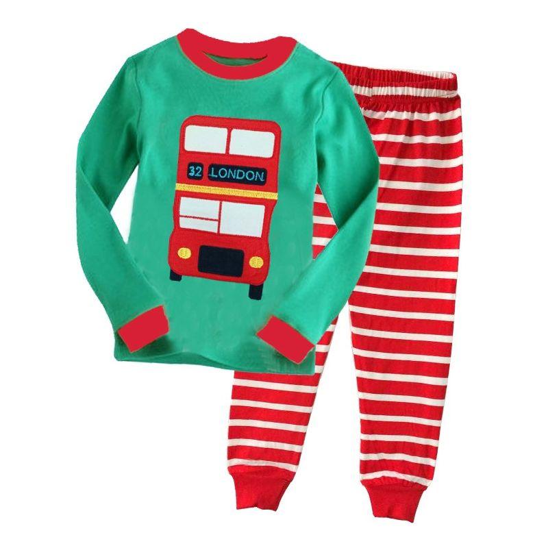 6 SETS/PACK Unisex Kids Cotton Loungewear Pyjamas Set 32 LONDON BUS Color-blocking T-shirt Top+Red & White Striped Pants