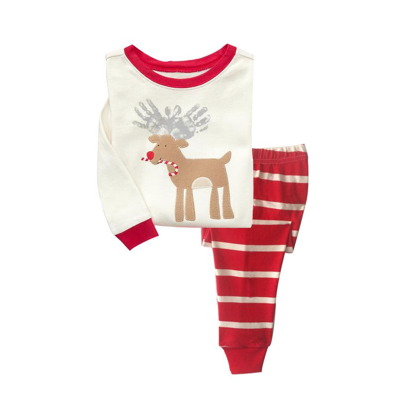 6 SETS/PACK Little Big Boys Girls Christmas Themed Cotton Homewear Sleepwear Set Reindeer Pullover Top+Red&White Striped Pants