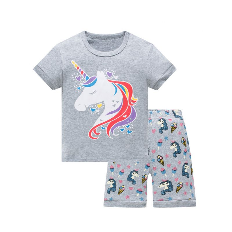 6 SETS/PACK Summer Toddler Big Boys Girls Unicorn  Homewear Nightwear Set Short Sleeve T-shirt+Shorts