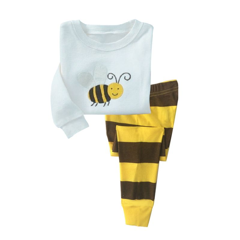 6 SETS/PACK Spring Autumn Unisex Kids Cotton Loungewear Pyjamas Set Honey Pullover+Striped Trousers
