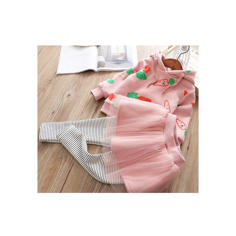 5 SETS/ PACK Toddler Big Girl Winter Outfit Clothes Set Radish Hoodie Sweatshirt+Mesh Pantskirt Leggings