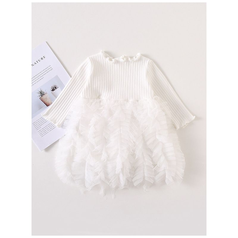 Baby Toddler Girl Ruffle Frill Big Bow Patchwork Mesh Dress Ruffle-cuff Spanish Style Baby Clothes