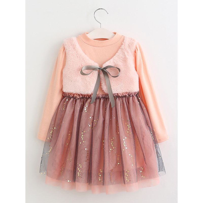 Autumn Winter False Two Pieces Vest Mesh Sequin Patchwork Princess Dress Toddler Big Girl Holiday Dress