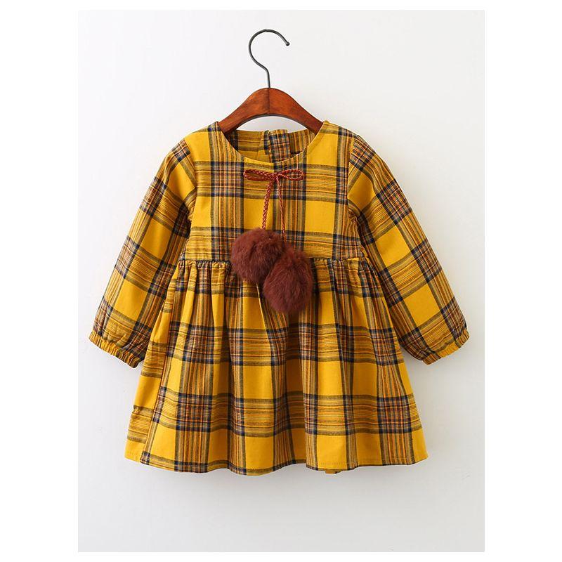 Pom Pom Plaid One-Piece Dress Little Big Girl Spring Autumn Casual Dress
