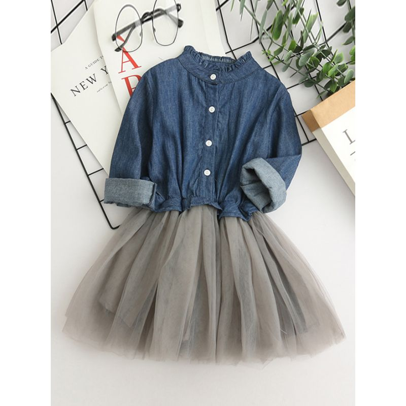 Stylish Little Big Girl Denim Mesh Patchwork Dress Long Sleeve Casual Dress for Spring Fall