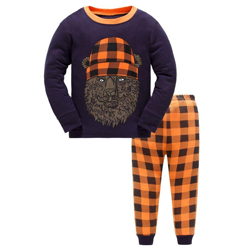 6 SETS/PACK Toddler Big Boys Cotton Pajamas Loungewear Set Cartoon Pullover+Checked Pants