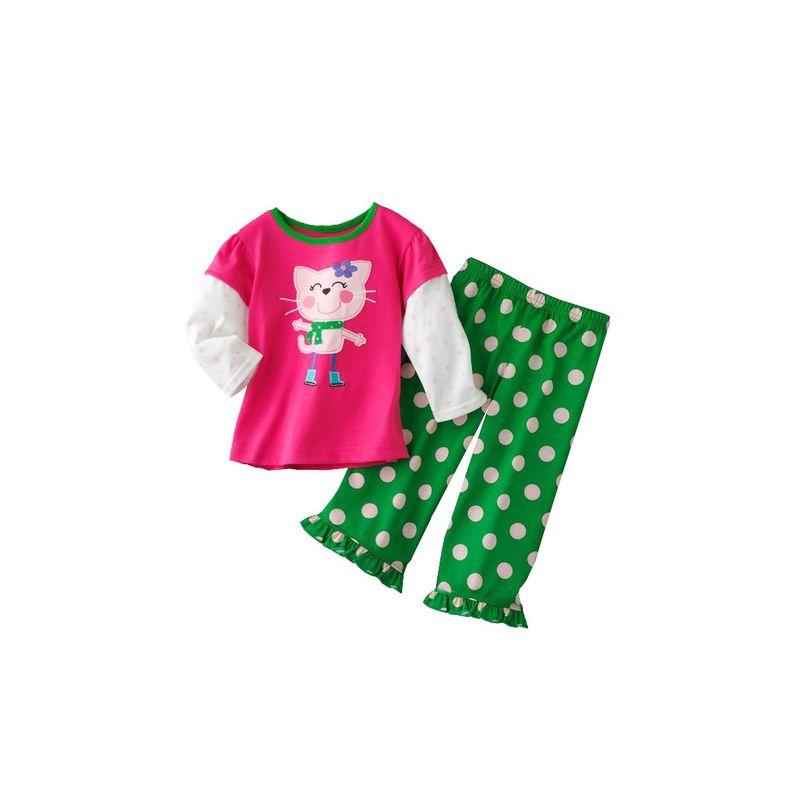 6 SETS/PACK Little Big Girl Kids Cotton Pajamas Leisure Wear Set Cat Color blocking T-shirt+Polka Dots Ruffled-Hem Pants
