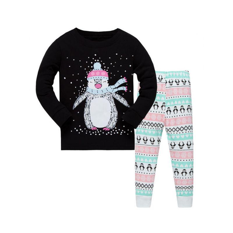 6 SETS/PACK Unisex Kids Cartoon Leisure Wear Nightwear Set Snowman T-shirt Top+Penguin Pants