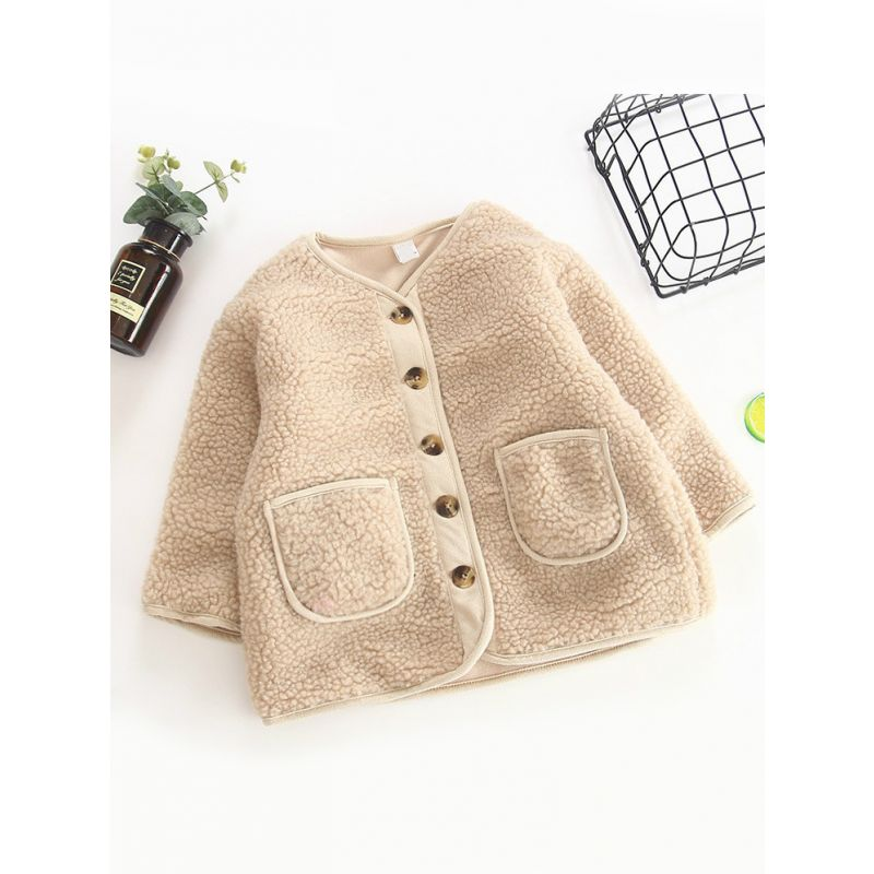 Baby Big Girl Berber Fleece Buttoned Thick Coat Cardigan Kids Winter Warm Outwear