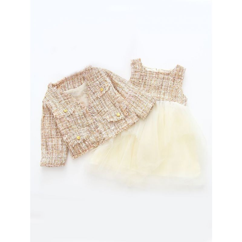 2-Piece Spanish Style Baby Little Girl Dress Clothes Outfit Set Jacket Topper+Patchwork Tulle Sundress