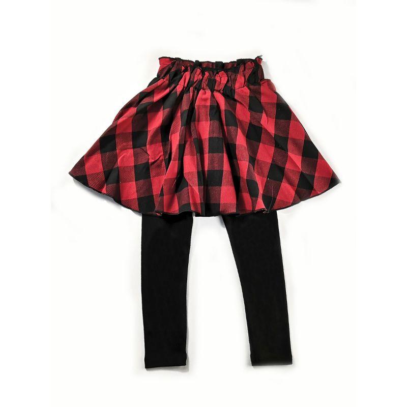 Fashion Plaid Pantskirt Little Big Girl Cotton Leggings for Spring Autumn