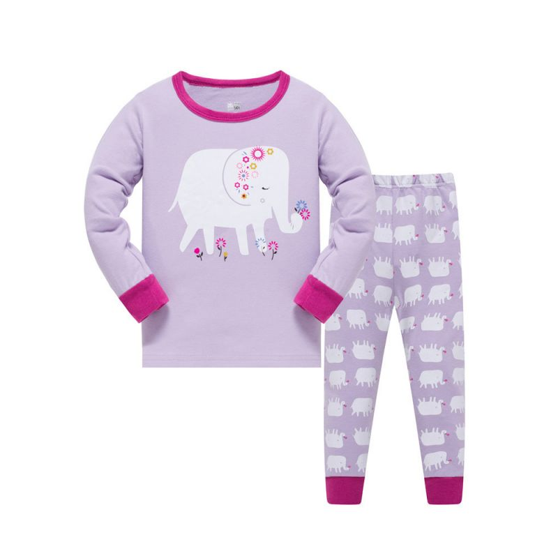 6 SETS/PACK Little Big Girl Kids Cotton Elephant Pajamas Sleepwear Set T-shirt Top+ Pants