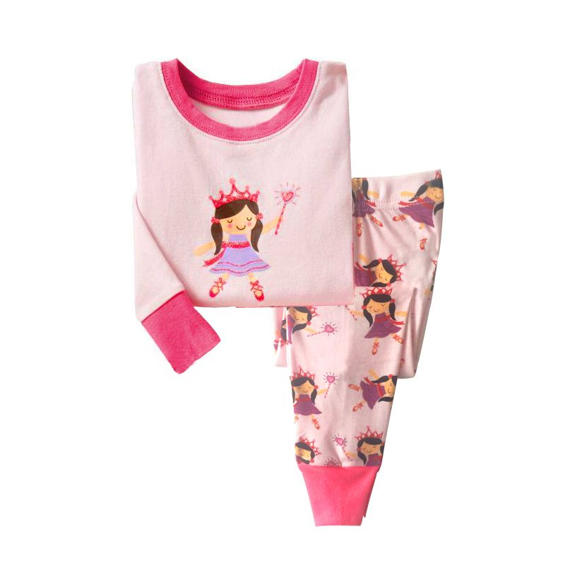 6 SETS/PACK Little Big Girl Kids Cotton Pajamas Sleepwear Set Pretty Princess Cartoon T-shirt+Pants