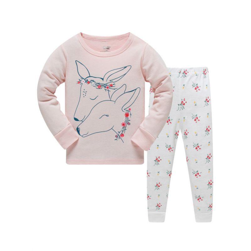 6 SETS/PACK Toddler Big Girls Cotton Rib Pajamas Loungewear Set Horse T-shirt+Floral Pants