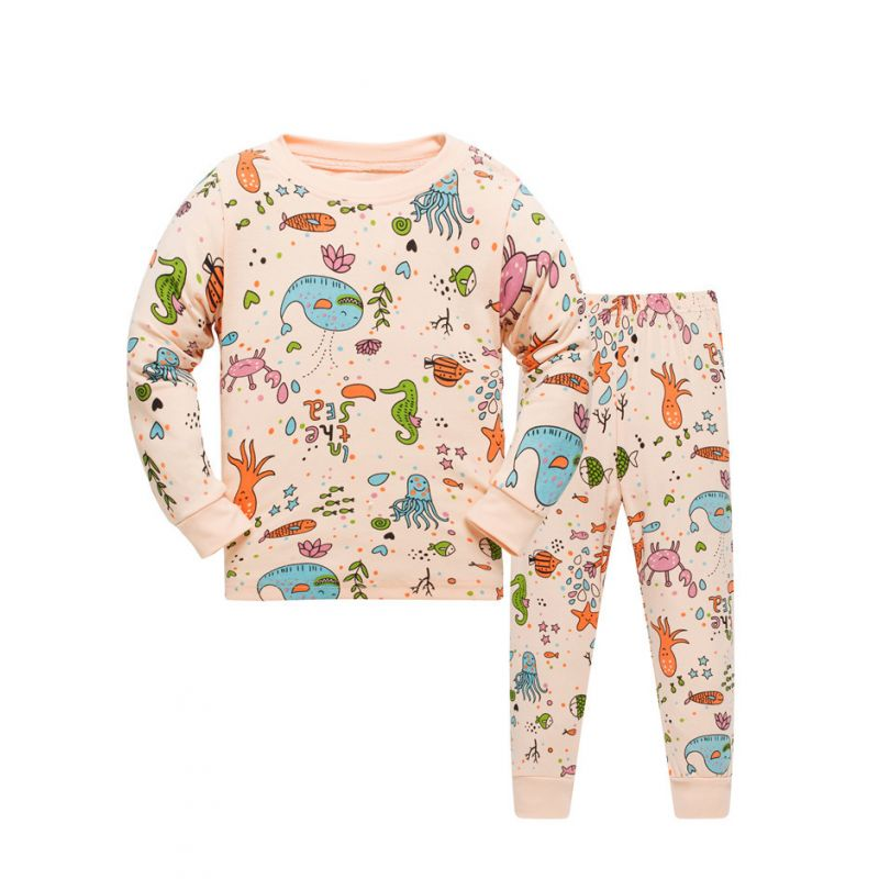 6 SETS/PACK Unisex Kids Cotton Cartoon Sea World Loungewear Pyjamas Set Pullover +Trousers