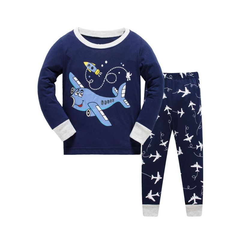 6 SETS/PACK Toddler Big Boys Cotton Cartoon Plane Homewear Pajamas Set Long Sleeve Pullover+Trousers