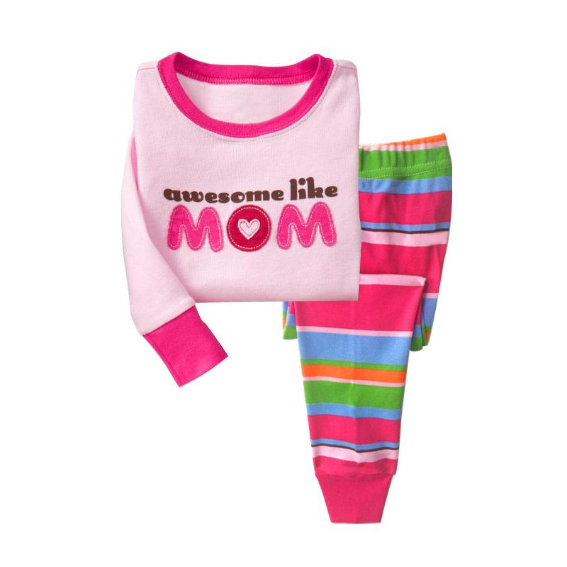 6 SETS/PACK Little Big Girl Kids Cotton Nightwear Leisure Wear Set Cat Awesome Like Mom Pullover+Color Blocking Striped Pants