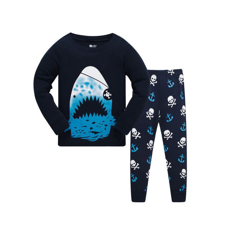 6 SETS/PACK Toddler Big Kids Cotton Pijama Loungewear Set Shark T-shirt+Skull Pants