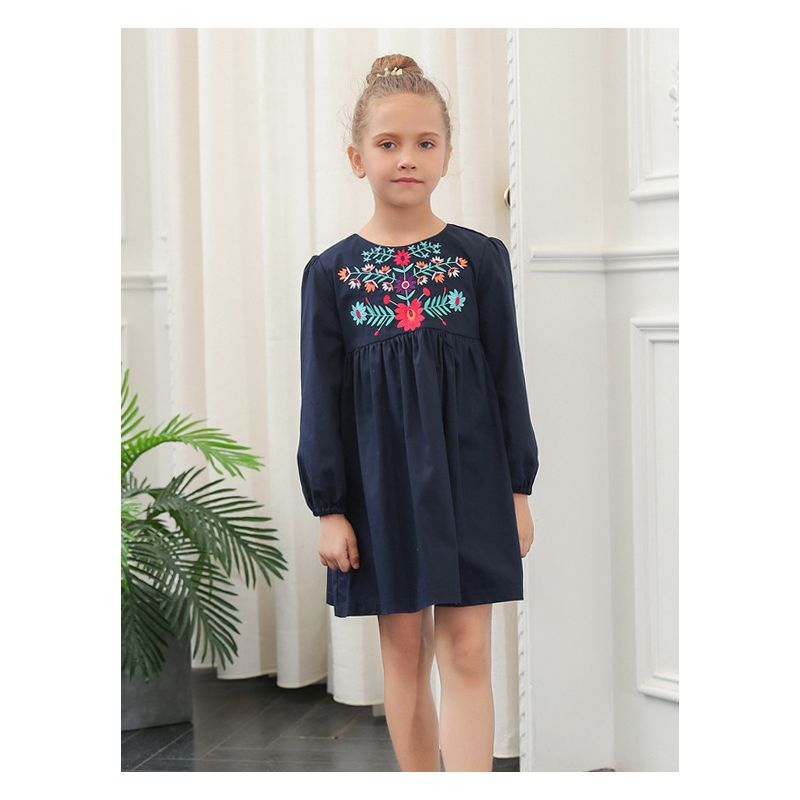 Flower Embroidery Cotton Dress Toddler Big Girl Spring One-Piece Dress