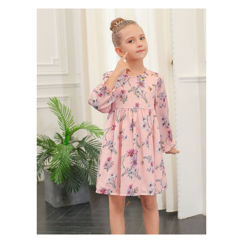Toddler Big Girl Floral Dress with Ruffle-Cuff for Spring Autumn