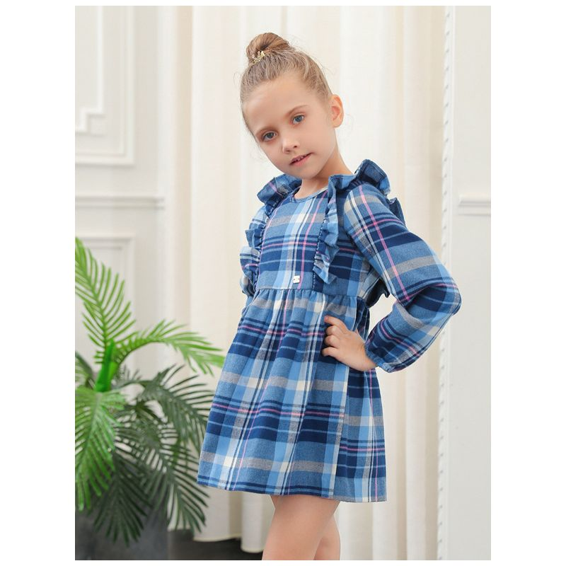 British Style Flutter Sleeve Plaid Dress Long Sleeve Toddler Big Girl Spring Casual Dress