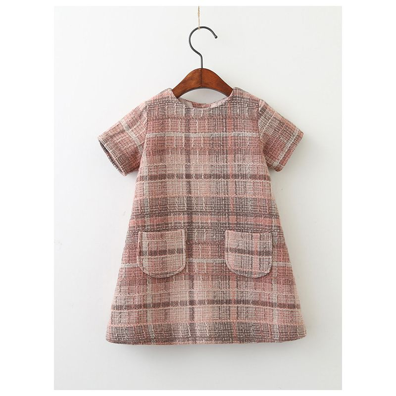 British Style Toddler Big Girl One-Piece Dress Short Sleeve with Hand Pockets