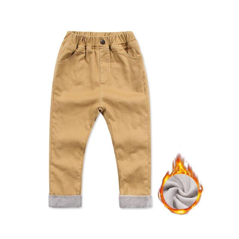 Winter Fleece-line Casual Pants Toddler Big Boys Khaki Leisure Pants