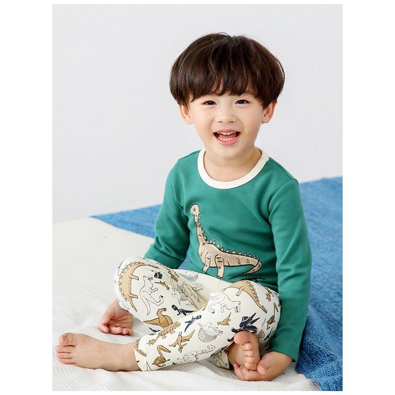 Toddler Big Boys Cotton Cartoon Niger Saurus Homewear Pajamas Set Long Sleeve T-shirt+Pants
