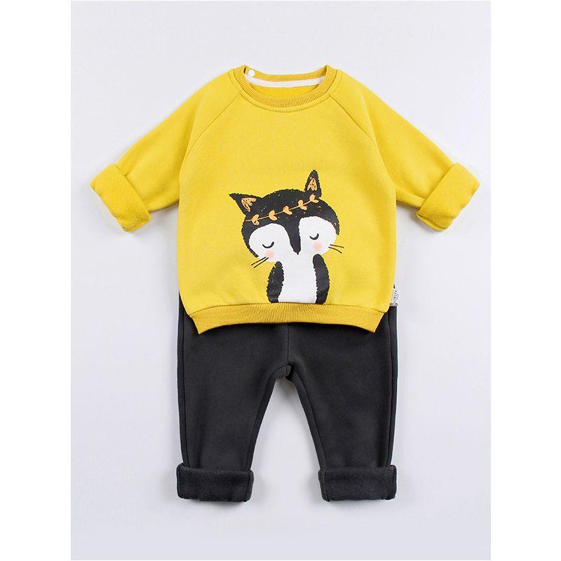 2-Piece Infant Toddler Big Boys Girls Winter Fleece-lined Sweat Suit Cartoon Fox Jumper Sweatshirt+Black Sport Pants