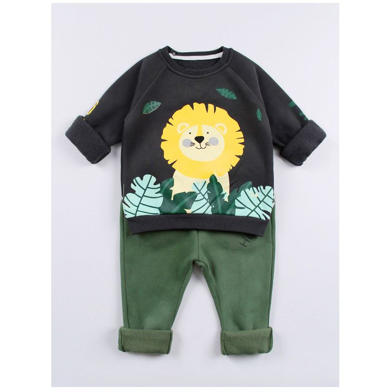 2-Piece Baby Toddler Big Boys Girls Winter Fleece-lined Clothes Outfit Set Cartoon Lion Jumper Sweatshirt+Green Pants