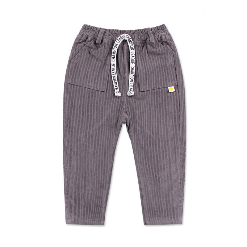 Winter Grey Corduroy Leisure Pants Toddler Big Boy Warm Thick Casual Pants