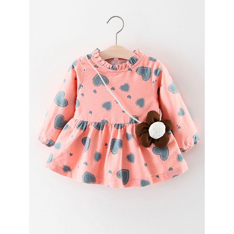 Adorable Fleece-lined Baby Girl Love Heart Winter Dress Ruffled Collar with Flower Mini Bag