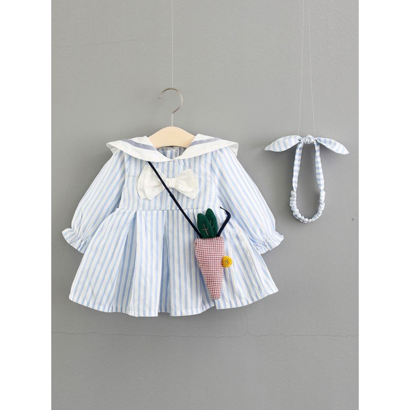 Fashion Striped Bow Baby Girl Princess Dress Ruffle-cuff with Carrot Mini Bag & Striped Headband Gift for Spring Autumn
