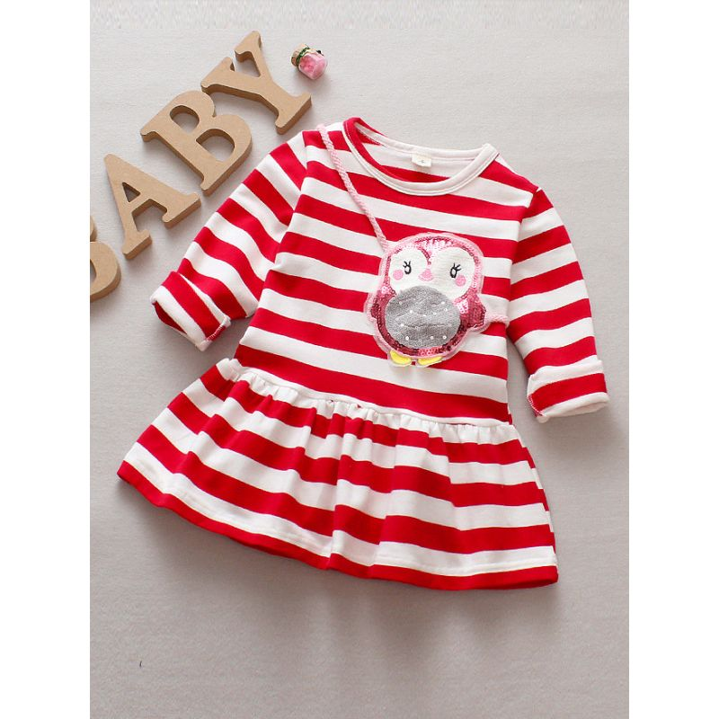 Stylish Sequin Owl-applique Striped Infant Girl Spring Casual One-piece Dress Long Sleeve