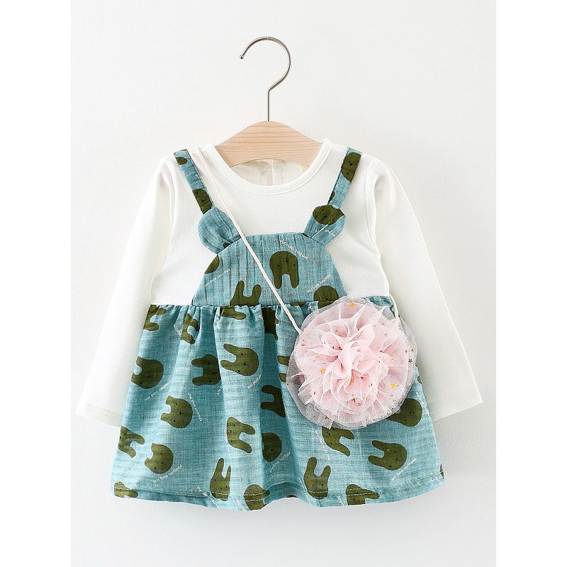 Cute Cartoon Animal Style Fake Two Piece Infant Girl Shift Dress with Pink Tulle Mini Bag