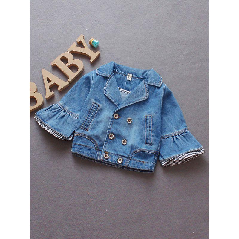 Fashion Bell Sleeve Baby Girl Frayed Denim Jacket Coat