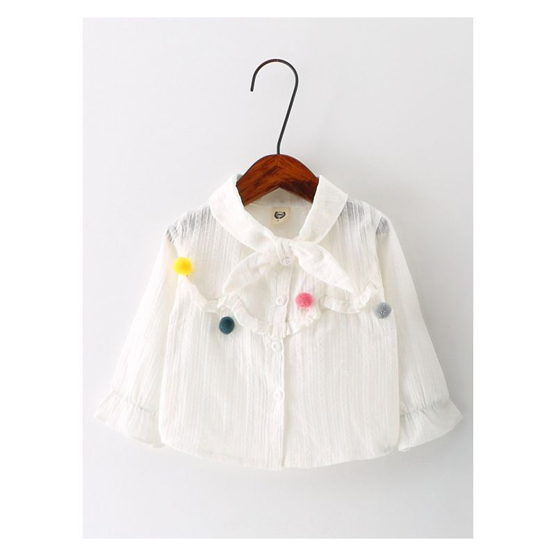Cute Pom Pom Bow Baby Girl White Blouse Long Sleeve Shirt Top
