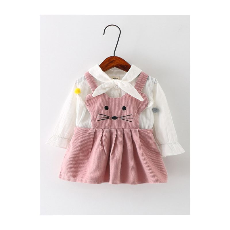 2-Piece Baby Girl Spring Clothes Outfit Set Cat Pattern Pinafore Dress+White Bow Pom Pom Shirt