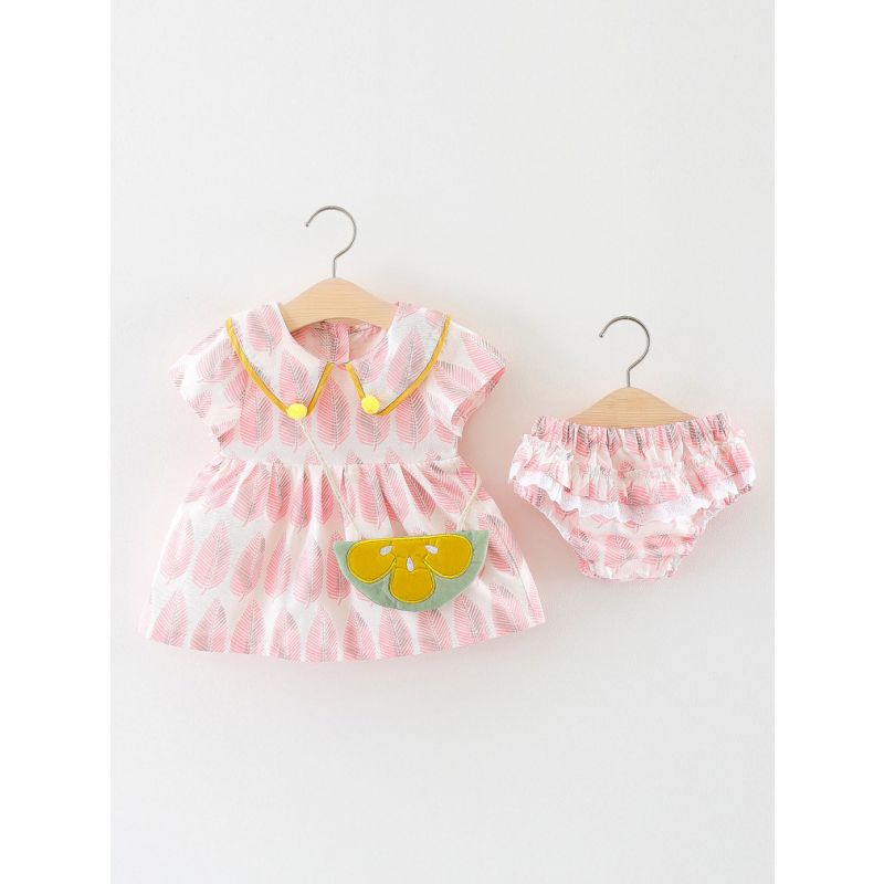 3-Piece Baby Girl Summer Dress Bloomer Shorts Outfit Set Leaf Shift Dress+Ruffled Lace Trimmed Bloomer Shorts+Mini Bag