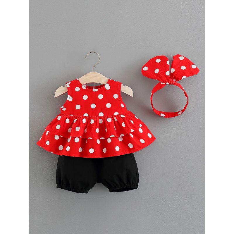 3-Piece Baby Girl Summer Dress Shorts Outfit Set Polka Dots Sleeveless Ruffled Dress+Black Dress+Headband