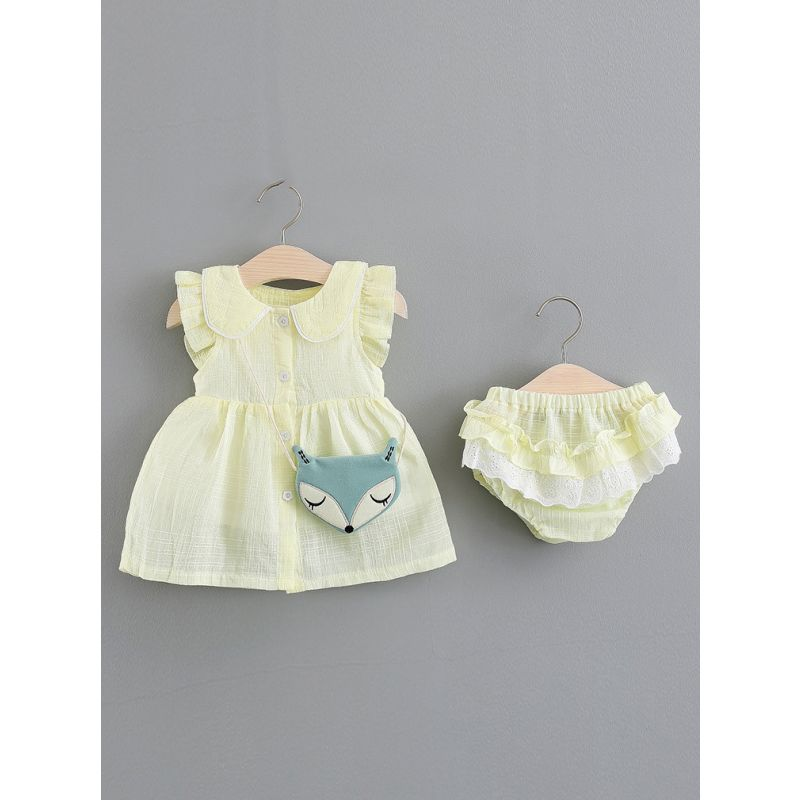 3-Piece Spanish Style Baby Girl Summer Dress  Bloomer Shorts Outfit Peter Pan Collar Flutter Sleeve Shift Dress+Ruffled Lace Trimmed Bloomer Shorts+Mini Fox Bag
