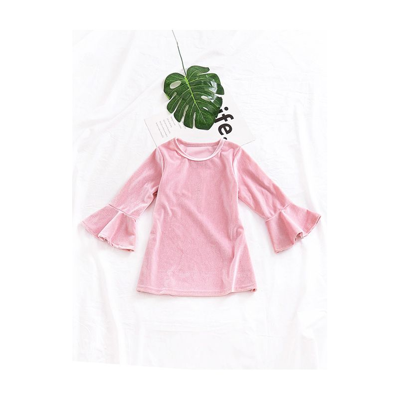 Baby Little Girl Bell Sleeve Pink Velvet Shift Dress