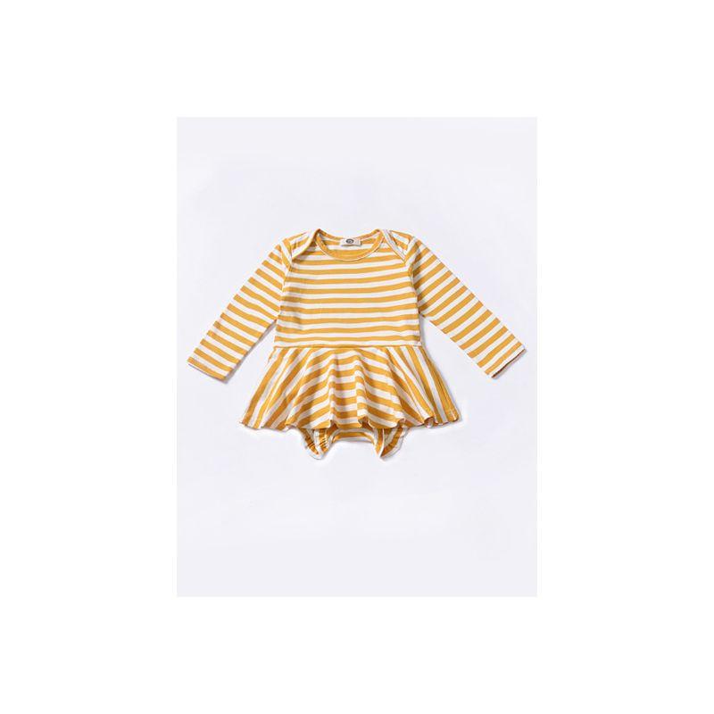 White & Yellow Striped Baby Girl Romper Dress Long Sleeve