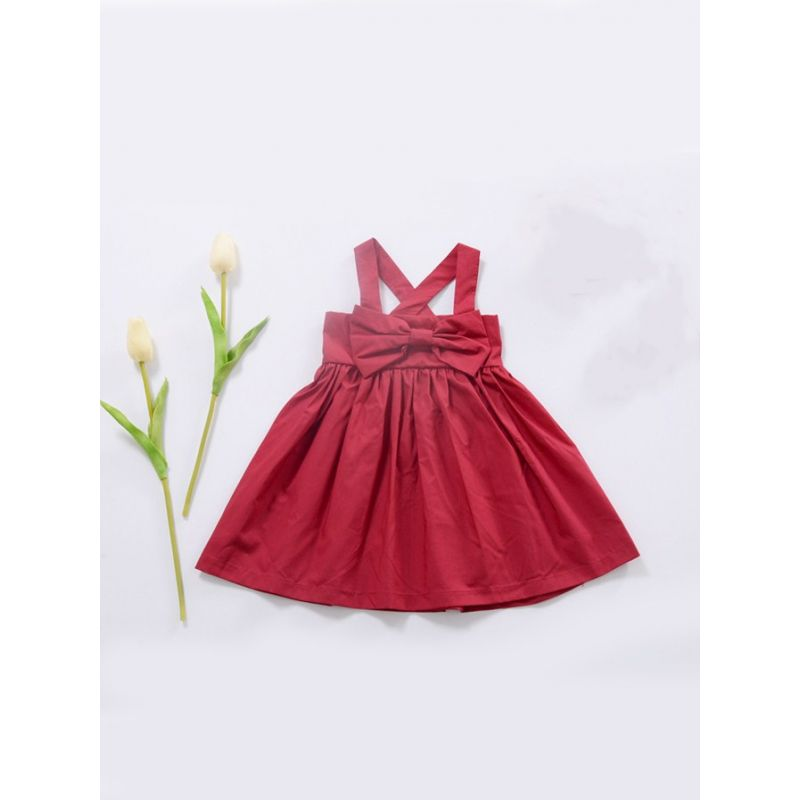 Big Bow Infant Girl Red Casual Pinafore Dress for Summer