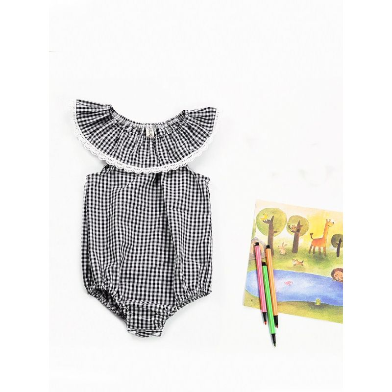 Lace Trimmed Black & White Checked Baby Girl Bodysuit Romper