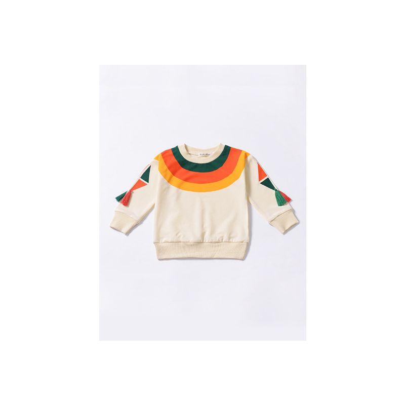 Rainbow Color Tassel Baby Little Girl Jumper Sweatshirt