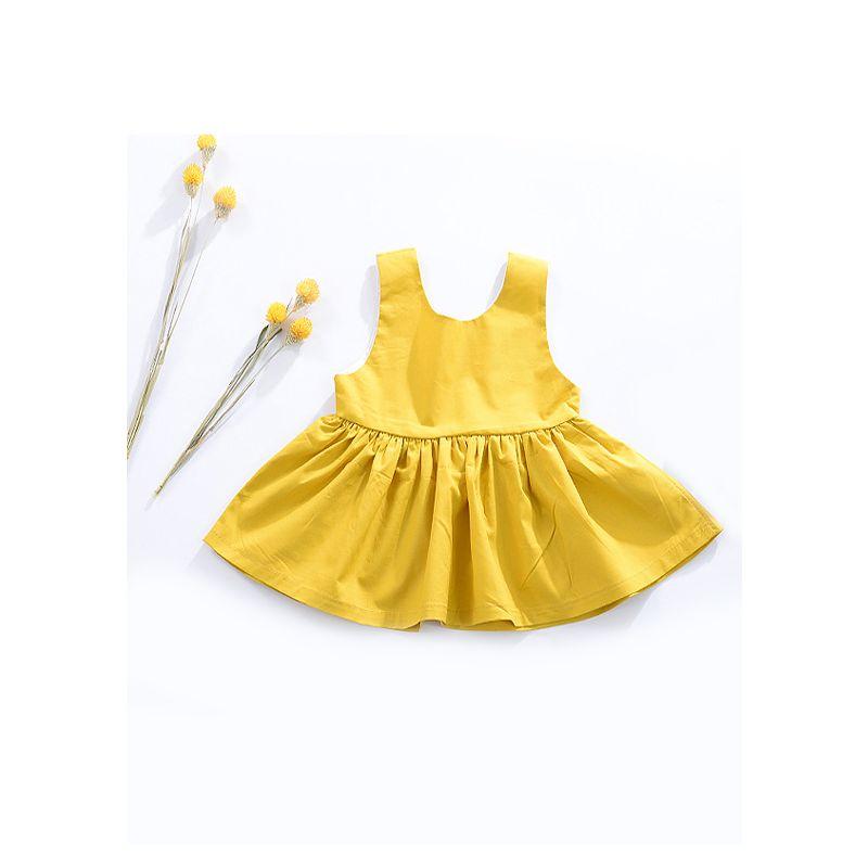 Yellow Baby Girl Summer Casual Pinafore Dress