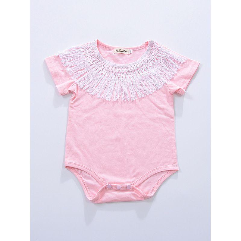 Tassels Trimmed Baby Girl Summer Romper Bodysuit