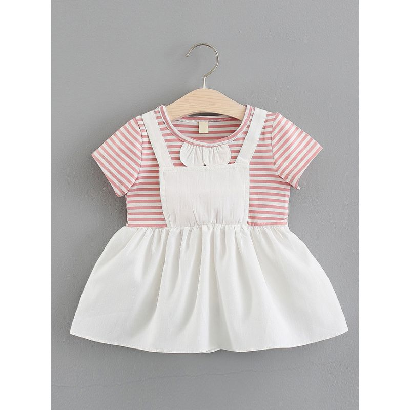 Fake Two-Piece Striped Infant Girl Summer Dress
