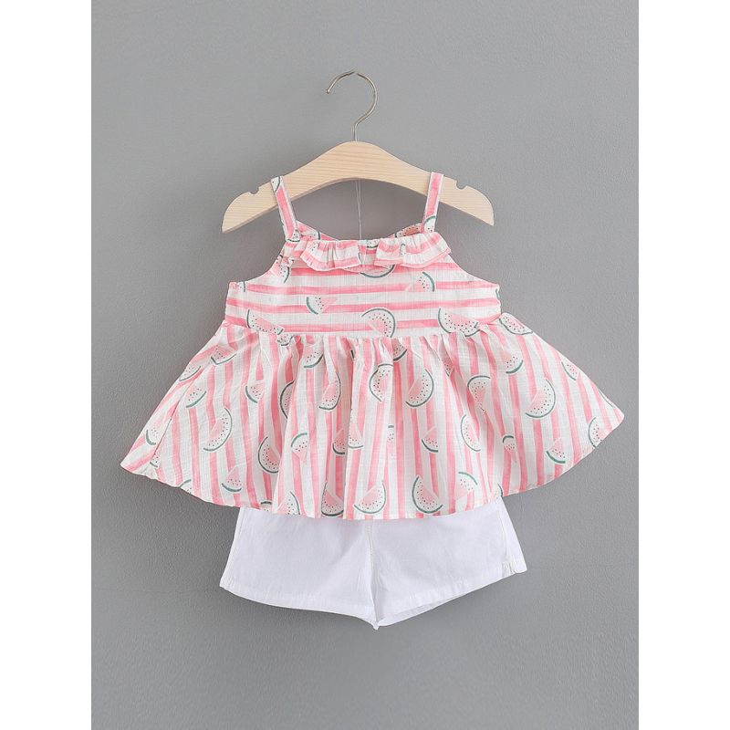 2-piece Baby Girl Summer Dress Outfit Set Watermelon Ruffled Suspender Dress+White Shorts